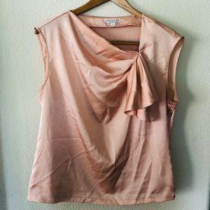 Eva Mendes silky pink/peach side drape top sz L